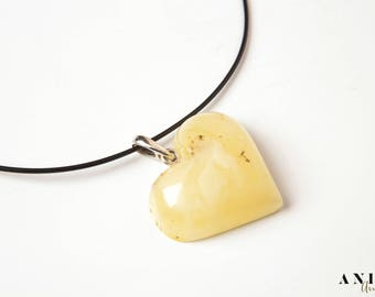 Amber Pendant Heart, natural amber, silver, amber heart, Heart Pendant,  rubber, jewelry