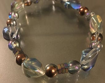 Rainbow-Glass Bead Bracelet