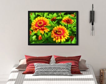 "Framed Vibrant, Modern Illustration ""Bee in Flower Bed"" by Malinee Ganahl. Fine Art Lustre Print.  Bright red, yellow, green."