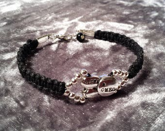 Hebraic Alpha and Omega macrame shamballa style bracelet, Gift for her