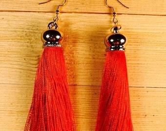 Red tassel earrings, Red tassels, Four inch earrings, drop earrings, long earrings, Boho