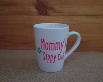Mommy's Sippy Cup Stemless Wine Glass, Wine Glass, Custom Glasses, Mom, Wife