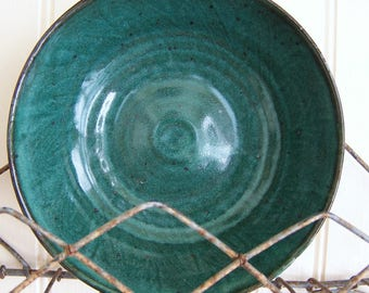 Handmade Pottery Bowl Aqua Pottery Bowl Dark Aqua Handmade Pottery Rustic Pottery Swirl Design  Wheel Thrown Pottery Fuzzy Mud Studio