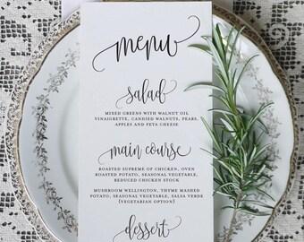 Calligraphy Script 6 Wedding Menu Printable