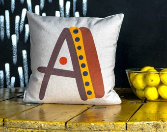 "A letter Cover cushion, bright color pillow cover, 16x16"", cotton cushion art cover, beige background, Multi-Coloured, Child-safe printing."