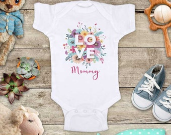 LOVE flowers Mommy Daddy Grandma custom Valentine's Day Baby Bodysuit Shower Gift - Made in USA - toddler kids youth shirt