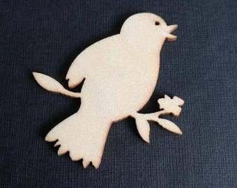 """Bird on branch"" wooden embellishment 5 cm / 4.5 cm"