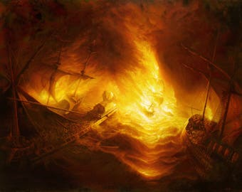 Fireship Attack on the Spanish Armada - A3 Digital Print - Signed by the Artist