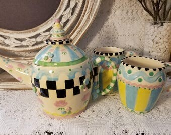 Peggy Sue pottery teapot and cups