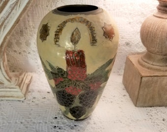 Enameled brass vase from India