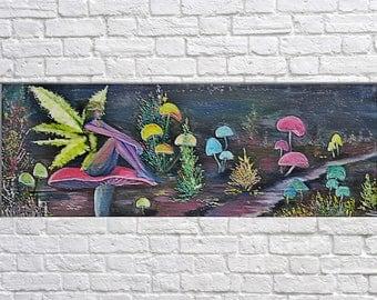 original oil art, Fantasy art, Painting on canvas, Fantasy wold, The fairy, oil art