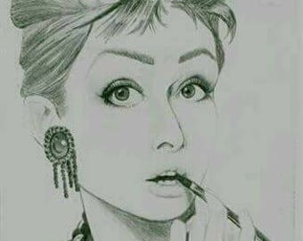 Audrey Hepburn Graphite Pencil Illustrated Artwork Breakfast at Tiffany's