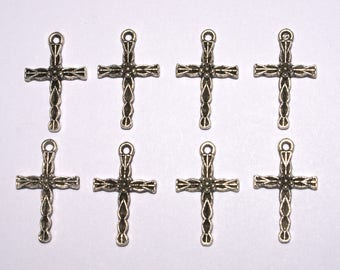 """8 Small Single Sided Silver Colored Metal Crosses 1 in length & 1/2"""" in width. DIY Crafts. Jewelry Supplies."""
