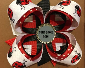 Custom Hair Bow, Personalized Photo Barrette, Custom Hair Accessory, Customized Photo Barette, Ladybug Bow, Personalized Hair Bow