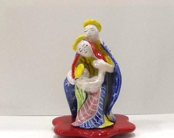 Ceramics of Vietri, Nativity worked and hand-decorated cm H 14 x 11 cm
