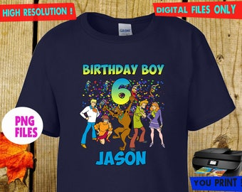 Scooby Doo, Iron On Transfer, Scooby Doo DIY Iron On Transfer, Scooby Doo Birthday Shirt DIY. Digital Files, Personalize, PNG Files.