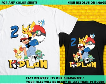Pokemon / Iron On Transfer / Pokemon Birthday Shirt Transfer DIY / Pokemon High Resolution 300 DPI / Digital Files
