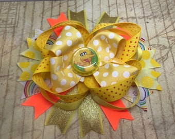Handmade Boutique stacked hair bow yellow big bird 5""