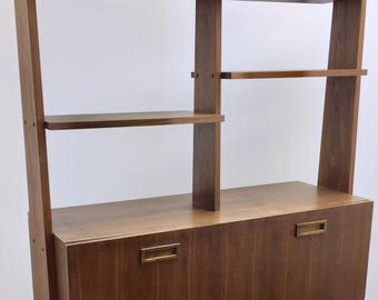 Mid Century Modern Walnut Secretary Desk wall unit with book shelves Danish Scandanavian design 1960's