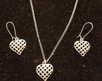"""Boutique...Order Now for Valentine... Silver Alloy Latice Heart Charm  18"""" Silver Coated Necklace with Matching Earrings Set"""