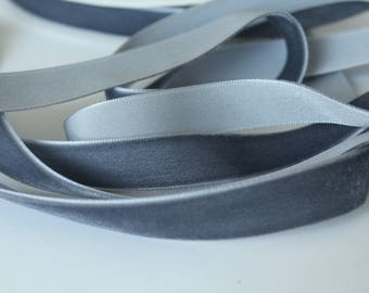 5/8 inch Slate Grey Velvet Ribbon by the Yard / 16 MM VELVET Ribbon / Velvet / Slate Grey / ER-VV189