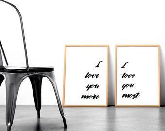 I Love You More / Most Brush Lettering Print Set