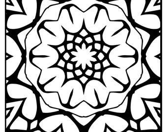 Wackadoodle Coloring Square Mandala #73