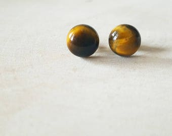Stud Earrings, Minimalist Earrings, Gemstone Earrings, Tiger Eye Earrings, Gemstone Jewelry, Gift for Women, Valentine's Day Gift for Her