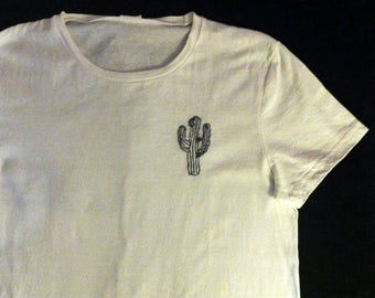 White T-shirt with hand embroidered drawing