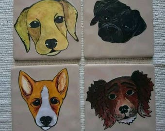 One of a kind set of 4 hand painted dog tiles