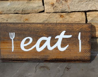 """Hand painted wall plaque """"Eat"""""""