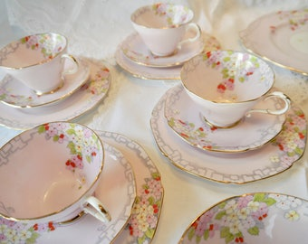 4 Stunning pale pink Paragon teacup, saucer plate trio, 2 x serving/ cake plates, Fine bone English china tea cup trio