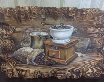 hand-made wooden picture