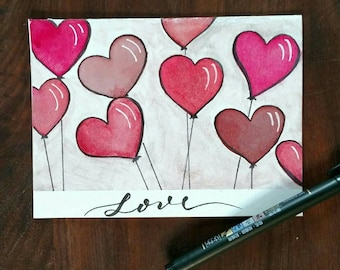 Valentine's Day Card: Heart Balloons