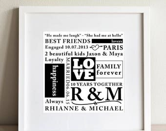 Personalised word art - 'LOVE' framed print