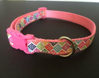 Colorful dog collar, adjustable dog collar, pink dog collar, snap closure dog collar,