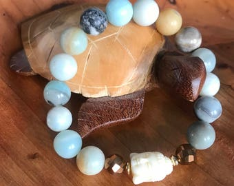 Serenity woman/woman's amazonite Buddha bracelet