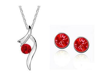 Jewelry Set Necklace & stud earrings * Silver Red