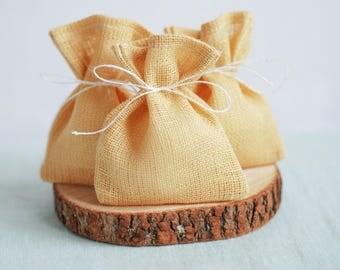 Blush yellow linen bags, 10 pcs, rustic wedding favor, wedding burlap bags, burlap linen gift bags, linen pouches