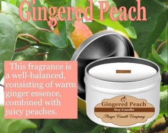 Gingered Peach Scented Soy Candle Tin (8 oz.)