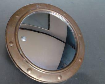Vintage Art Deco Round Nautical Brass Mirror