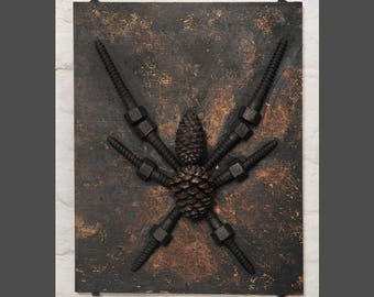 Spider-like sculpture for hanging