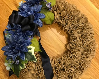 It's all about the Blue  Burlap wreath