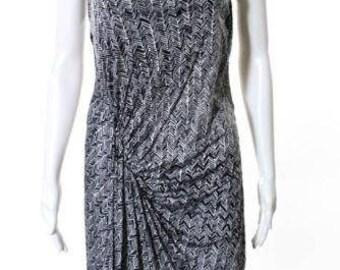 Balenciaga Paris Black White Abstract Print Sleeveless Dress