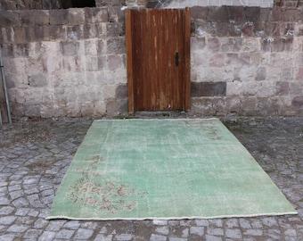 Pale Green Unique Turkish Rug 7.3 x 9.5 ft. Free Shipping Organic Oushak Carpet Large Rug Turkish Carpet Wool Rug Bohemian Decor Rug MB173