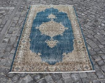 Free Shipping Unique blue color oushak rug 3.8 x 6.4 ft. ottoman design area rug, decorative turkish rug,rug, tribal rug, boho rug MB460