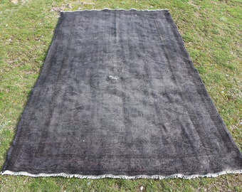 Black overdyed rug 5.2 x 8.9 ft. gray rug, handknotted overdyed turkish area rug, oversize rug, bohemian area rug, turkish floor rug, MB539