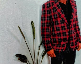 Plaid Suit Coat Mens size M/L