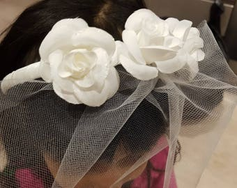 Bridal headband with 3 rose and a net veil. Latest handmade by Gainna Creations 2018