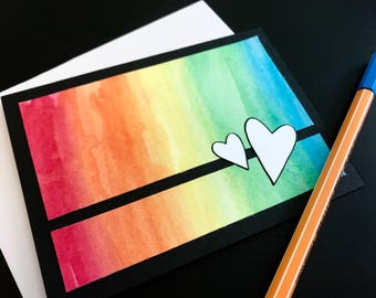 Set of 10 Handmade Watercolor Heart Note Cards